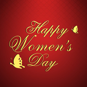 Happy Womens Day Greeting Card Or Poster Design With Golden Text On Red Background.