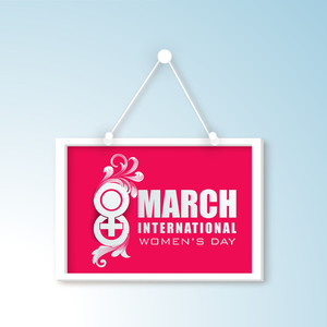 Happy Womens Day Greeting Card Or Poster Design With Hanging Tag On Blue Background.