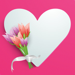Happy Womens Day Greeting Card Or Poster Design With Heart Shape And Flowers On Pink Background.