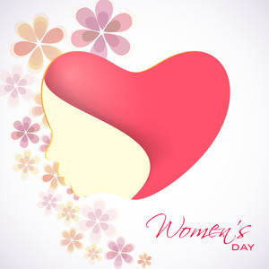 Happy Womens Day Greeting Card Or Poster Design With Heart Shape Design And Illustration Of Agirl Face On Floral Decorated Background.