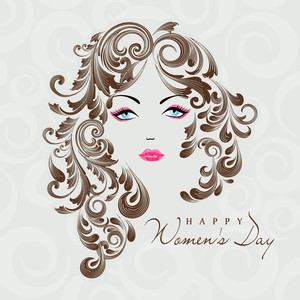 Happy Womens Day Greeting Card Or Poster Design With Illustration Of A Beautiful Girl With Floral Decorated Hairs.