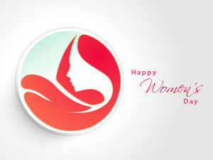 Happy Womens Day Greeting Card Or Poster Design With Illustration Of A Beautiful Girl In Heart Shape On Grey Background.