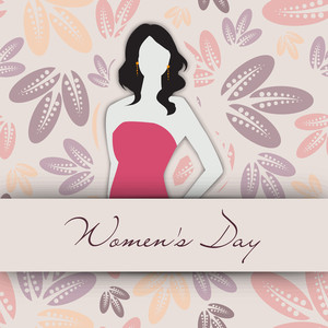 Happy Womens Day Greeting Card Or Poster Design With Illustration Of A Beautiful Young Girl On Floral Decorated Background.