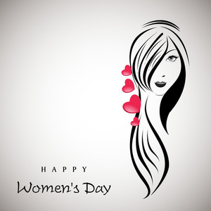 Happy Womens Day Greeting Card Or Poster Design With Illustration Of A Beautiful Girl With Long Hairs On Grey Background.