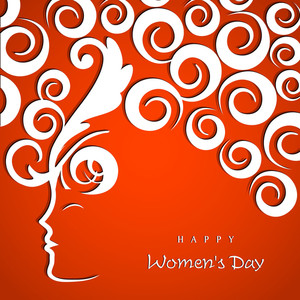 Happy Womens Day Greeting Card Or Poster Design With Illustration Of A Girl Face And Floral Decorated Hairs On Red Background.