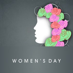 Happy Womens Day Greeting Card Or Poster Design With Illustration Of A Girl With Colorful Flowers Decorated Hairs On Grungy Grey Background.