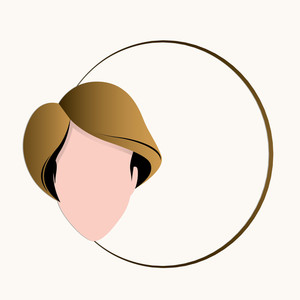 Happy Womens Day Greeting Card Or Poster Design With Illustration Of A Girl In A Circle On Grey Background.