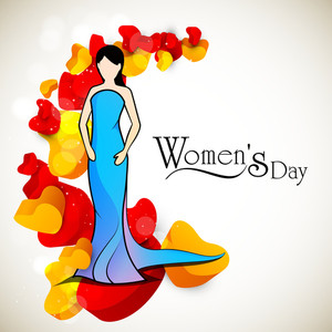 Happy Womens Day Greeting Card Or Poster Design With Illustration Of A Girl On Red Hearts Decorated Grey Background.