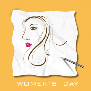 Happy Womens Day Greeting Card Or Poster Design With Illustration Of A Girl On On Yellow Background.