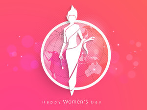 Happy Womens Day Greeting Card Or Poster Design With Illustration Of A Girl On Shiny Pink And Orange Background.