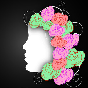 Happy Womens Day Greeting Card Or Poster Design With Illustration Of A Girl Face With Colorful Roses Decorated Black Background.