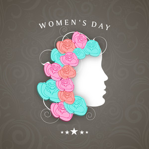 Happy Womens Day Greeting Card Or Poster Design With Illustration Of A Girl Decorated With Colorful Flowers On Grey Background.