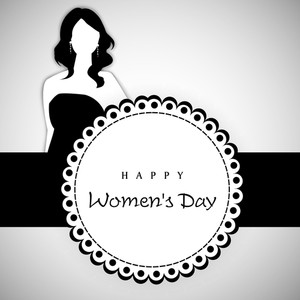 Happy Womens Day Greeting Card Or Poster Design With Illustration Of A Mordern Young Girl On Grey And Black Background.
