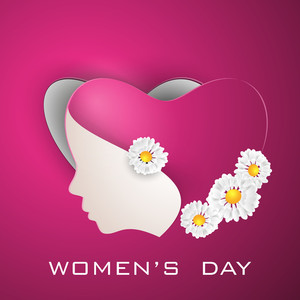 Happy Womens Day Greeting Card Or Poster Design With Illustration Of A Woman On Pink Background.