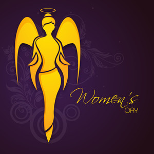 Happy Womens Day Greeting Card Or Poster Design With Illustration Of An Angel On Floral Decorated Purple Background.
