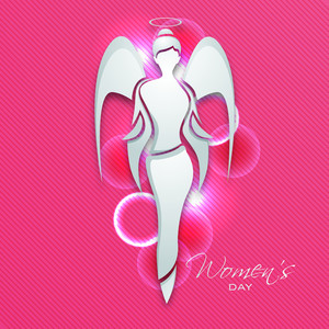 Happy Womens Day Greeting Card Or Poster Design With Illustration Of An Angel On Pink Background.