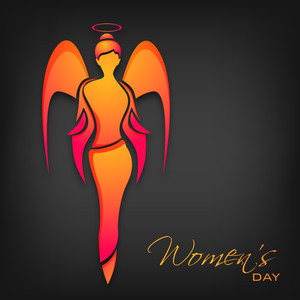 Happy Womens Day Greeting Card Or Poster Design With Illustration Of An Angel On Grey Background.