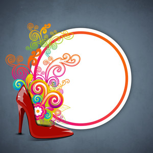 Happy Womens Day Greeting Card Or Poster Design With Ladies Shoe On Floral Decorated Background