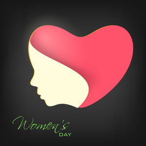 Happy Womens Day Greeting Card Or Poster Design With Pink Heart Shape And Illustration Of Women Face On Grey Background.