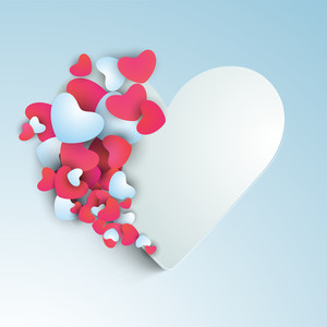 Happy Womens Day Greeting Card Or Poster Design With Pink Hearts On Blue Background.