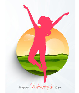 Happy Womens Day Greeting Card Or Poster Design With Pink Silhouette Of A Young Girl In Dancing Pose On Nature Background.