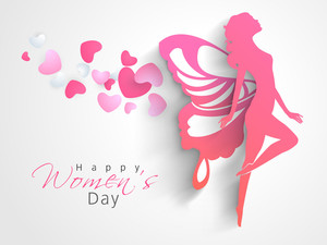 Happy Womens Day Greeting Card Or Poster Design With Pink Silhouette Of A Young Girl In Dancing Pose On Grey Background.