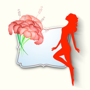 Happy Womens Day Greeting Card Or Poster Design With Red Silhouette Of A Woman In Dancing Pose And Beautiful Flower On Grey Background.