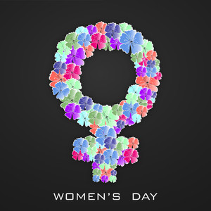 Happy Womens Day Greeting Card Or Poster Design With S Floral Decorated Symbol Of A Woman On Grey Background.