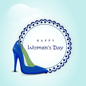 Happy Womens Day Greeting Card Or Poster Design With Shiny Blue Ladies Shoe With Sticker For Your Message.