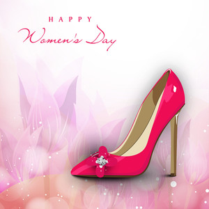 Happy Womens Day Greeting Card Or Poster Design With Shiny Pink Shoe On Floral Decorated Background.