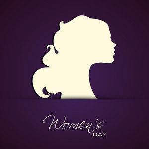 Happy Womens Day Greeting Card Or Poster Design With Silhouette Of A Beautiful Girls On Purple Background.
