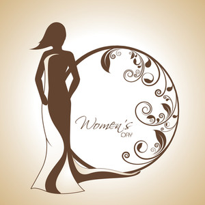 Happy Womens Day Greeting Card Or Poster Design With Silhouette Of A Beautiful Girl And Floral Decorated Circle On Abstract Background.