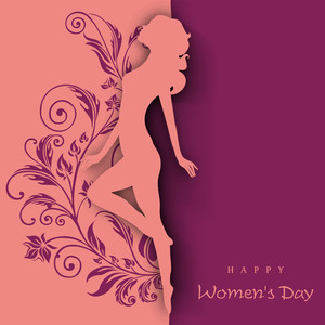 Happy Womens Day Greeting Card Or Poster Design With Silhouette Of A Girl In Dancing Pose On Orange And Purple Background.