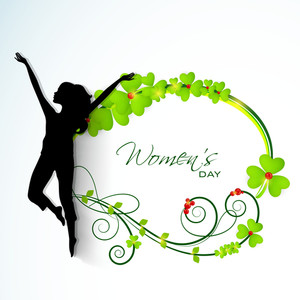 Happy Womens Day Greeting Card Or Poster Design With Silhouette Of A Happy Woman In Dancing Pose On Clovers Decorated Blue Background.