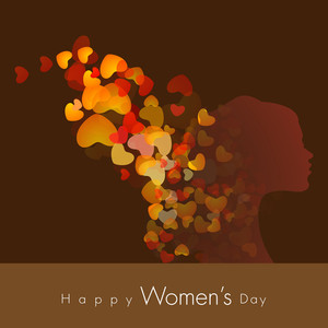 Happy Womens Day Greeting Card Or Poster Design With Silhouette Of A Young Woman On Shiny Heart Shapes Decorated Brown Background.