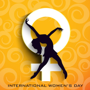 Happy Womens Day Greeting Card Or Poster Design With Silhouette Of A Young Woman In Dancing Pose On Stylish Abstract Background.