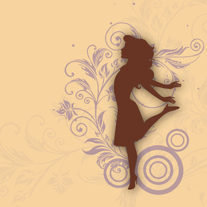 Happy Womens Day Greeting Card Or Poster Design With Silhouette Of  Girl On Floral Decorated Brown Background.