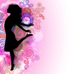 Happy Womens Day Greeting Card Or Poster Design With Silhouette Of Happy Girl On Floral Decorated Pink Background.