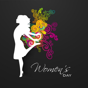 Happy Womens Day Greeting Card Or Poster Design With Silhouette Of Happy Girl On Floral Decorated Grey Background.