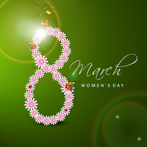 Happy Womens Day Greeting Card Or Poster Design With Stylish Text 8th March Decorated By Pink Flowers On Green Background.