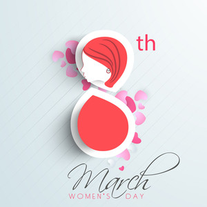 Happy Womens Day Greeting Card Or Poster Design With Stylish Text 8th March On Stylish Abstract Background.