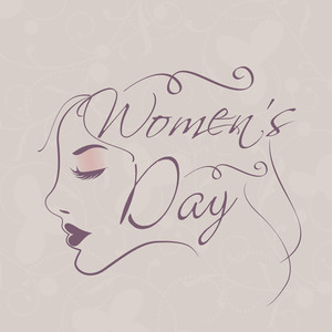 Happy Womens Day Greeting Card Or Poster Design With Stylish Text And Illustration Of Beautiful Girl.