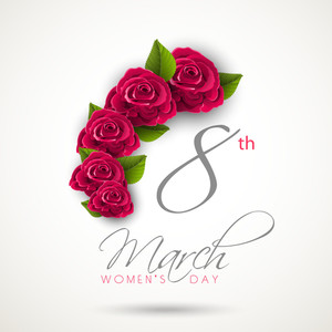 Happy Womens Day Greeting Card Or Poster Design With Stylish Text And Roses.