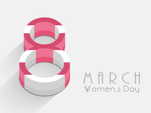 Happy Womens Day Greeting Card Or Poster Design With Stylish Text In Pink And White Color On Grey Background