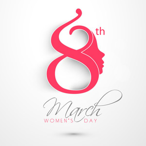 Happy Womens Day Greeting Card Or Poster Design With Stylish Text In Pink Color On Grey Background.