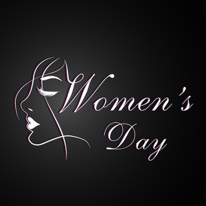 Happy Womens Day Greeting Card Or Poster Design With Stylish Text On Dark Grey Background.