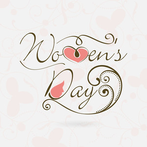 Happy Womens Day Greeting Card Or Poster Design With Stylish Text On Seamless Heart Shape Decorated Background.