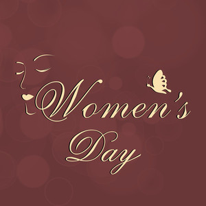 Happy Womens Day Greeting Card Or Poster Design With Stylish Text On Shiny Brown Background.