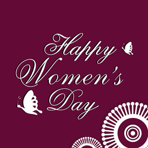 Happy Womens Day Greeting Card Or Poster Design With Styllish Text On Maroon Background With Floral Design.