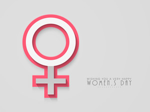 Happy Womens Day Greeting Card Or Poster Design With Symbol Of A Woman On Abstract  Background.